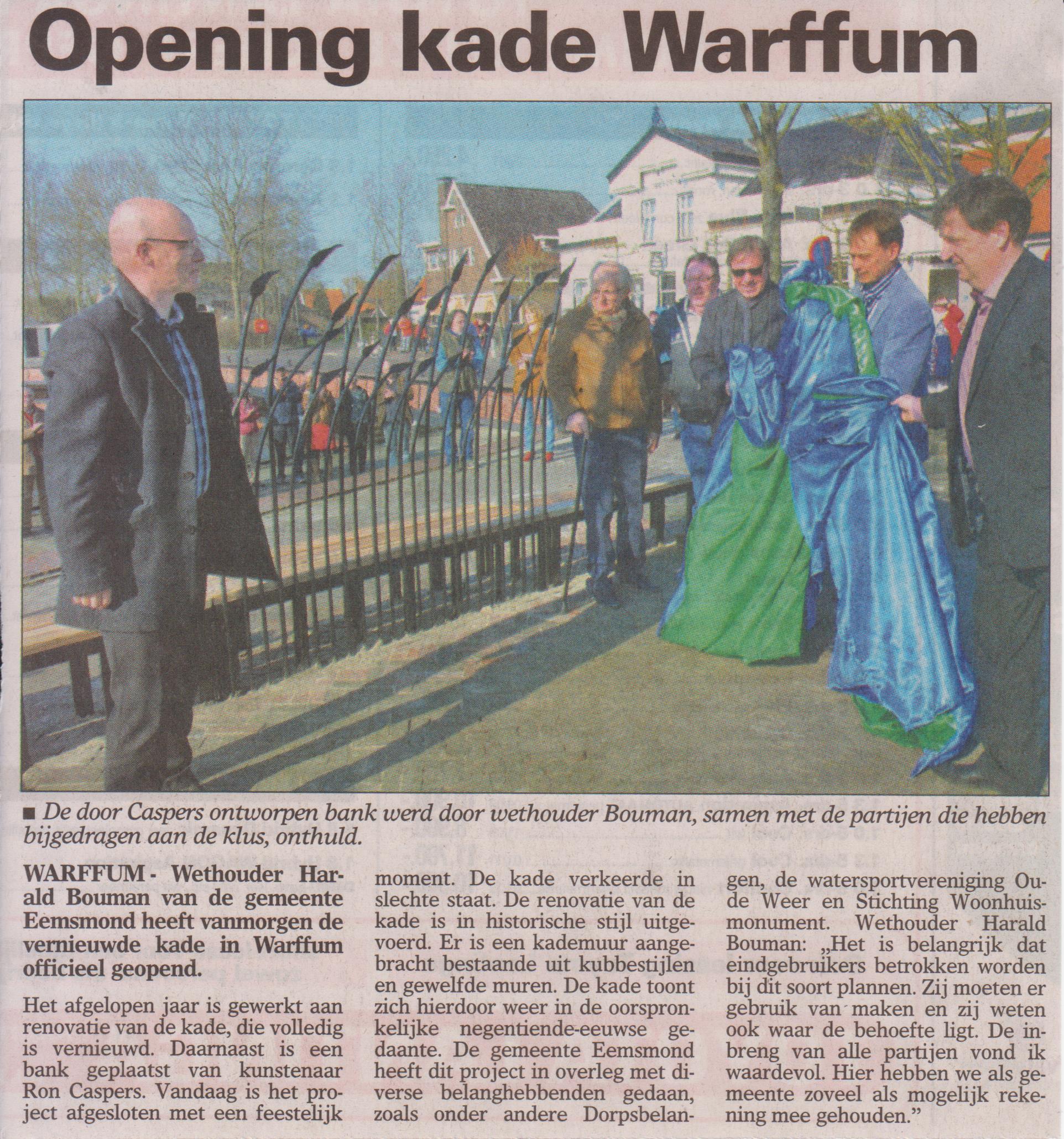 Opening kade Warffum, artikel in de Ommelander Courant van 13-3-2014